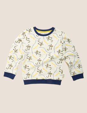 Erkek Çocuk Krem Roald Dahl™ & NHM™ Maymun Desenli Sweatshirt