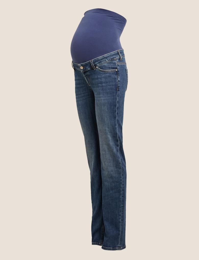 Kadın Lacivert Hamile Straight Leg Jean Pantolon