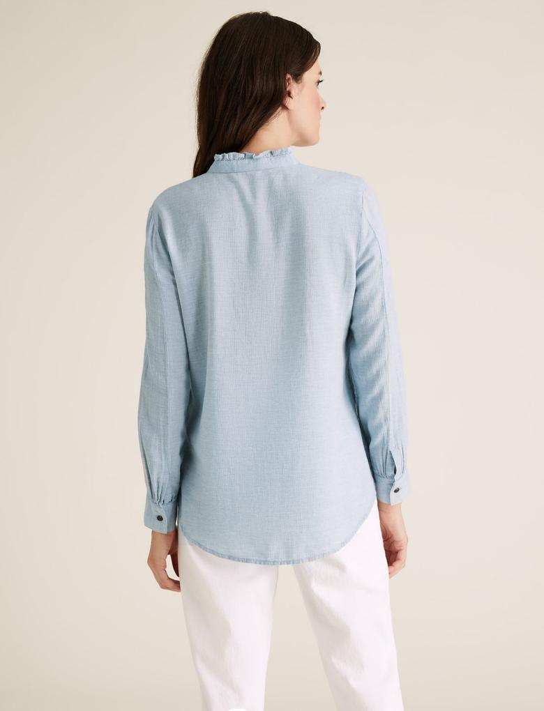 Kadın Mavi Dik Yakalı Tunik