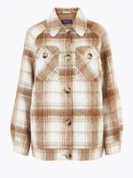 Kadın Multi Renk Yün Karışımlı Ekose Ceket