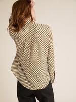 Kadın Sarı Geometrik Desenli Uzun Kollu Gömlek