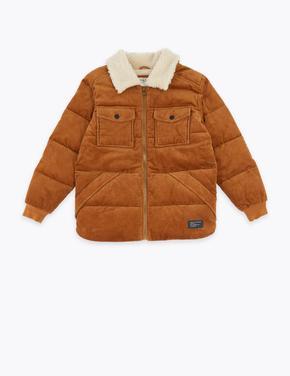 Erkek Çocuk Kahverengi Sentetik Kürk Astarlı Ceket
