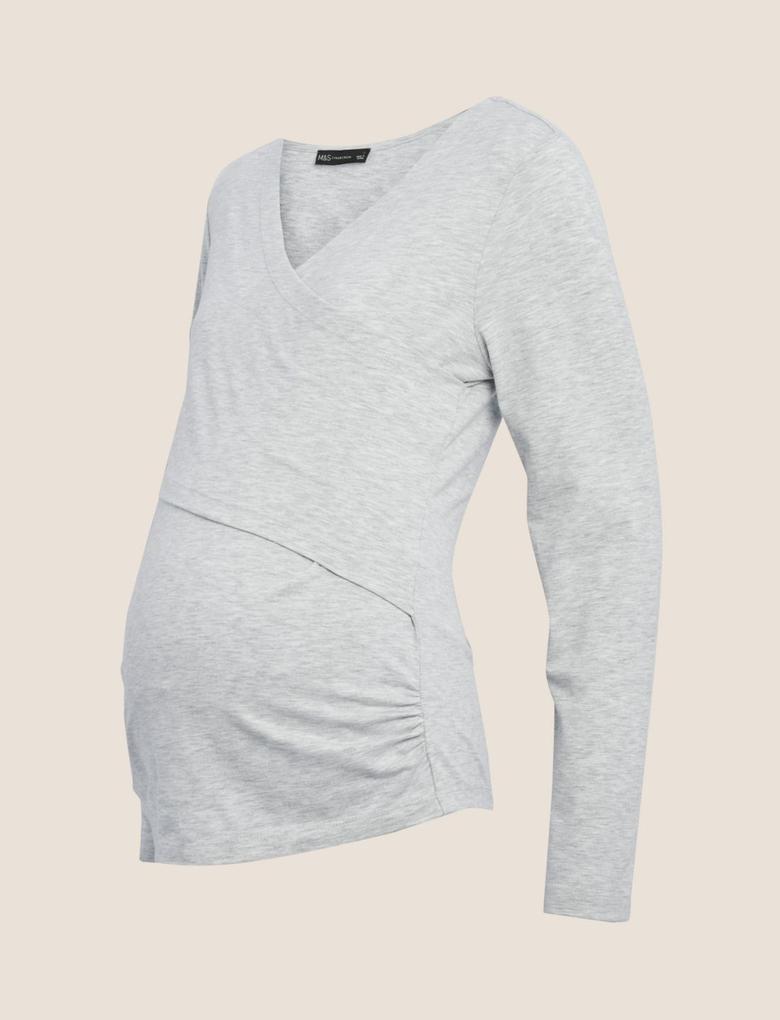 Kadın Gri V Yaka Hamile Bluzu