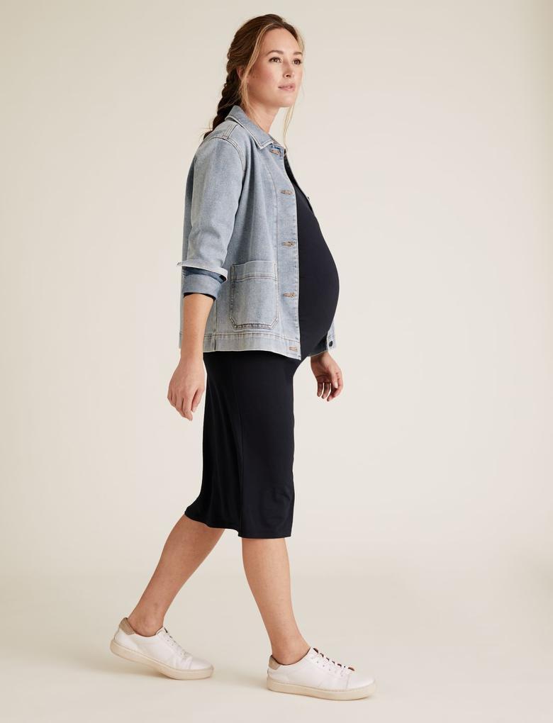 Kadın Lacivert Midi Hamile Elbisesi