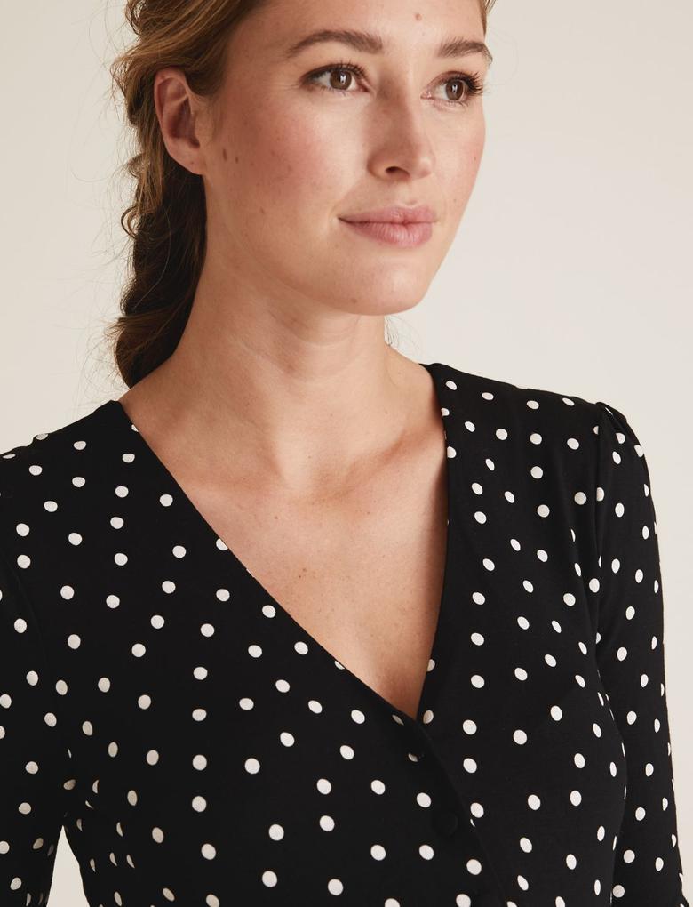 Kadın Siyah Uzun Kollu Hamile Elbisesi