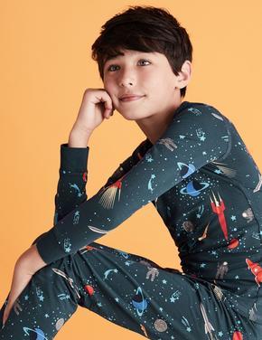 Çocuk Lacivert Pamuklu Uzay Desenli Pijama Takımı