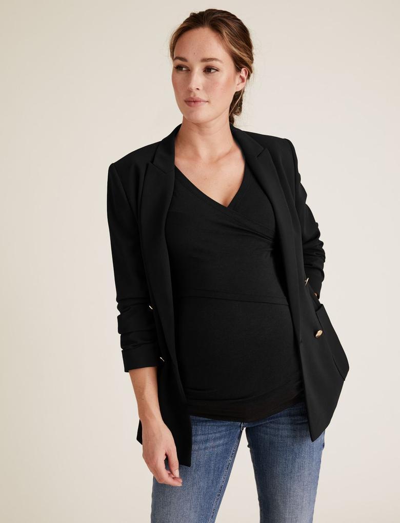 Kadın Siyah V Yaka Hamile Bluzu