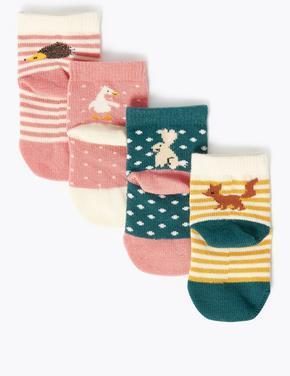Çocuk Multi Renk 4'lü Desenli Çorap Seti