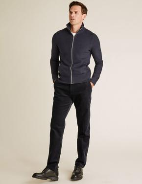 Lacivert Regular Fit Kadife Pantolon