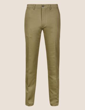 Kahverengi Slim Fit Streç Chino Pantolon