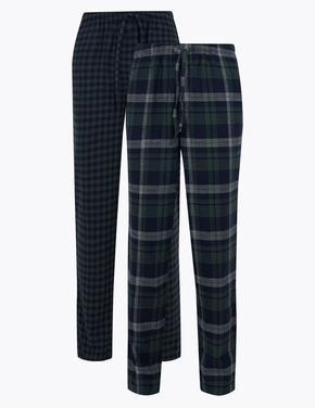 Erkek Yeşil 2'li Ekose Pijama Altı Seti