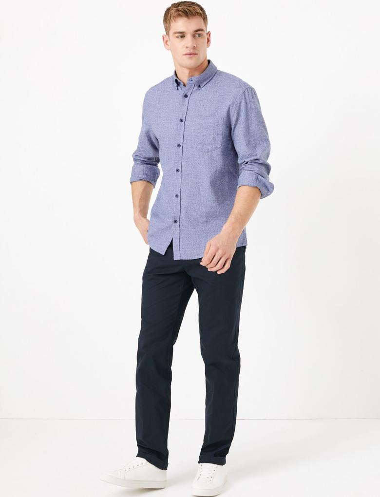 Lacivert Regular Fit Streç Chino Pantolon
