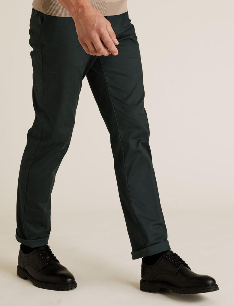 Yeşil Blue Harbour Premium Regular Fit Chino Pantolon
