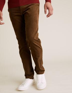 Kahverengi Regular Fit Kadife Pantolon