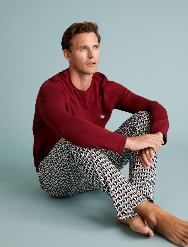 Erkek Bordo Saf Pamuklu Pijama Takımı