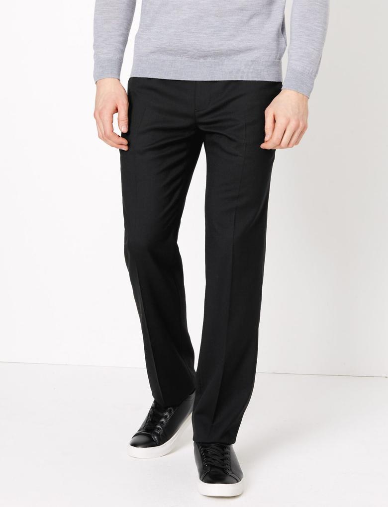 Siyah Regular Fit Yün Karışımlı Pantolon