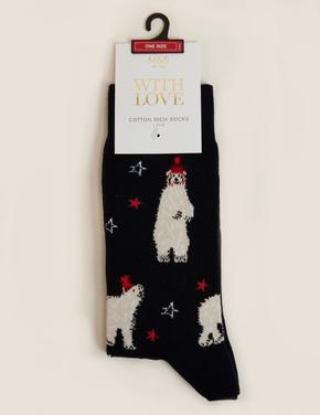 Erkek Lacivert Desenli Çorap