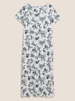 Kadın Beyaz Modal Karışımlı Çiçek Desenli Gecelik