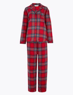 Kadın Kırmızı Saf Pamuklu Ekose Pijama Takımı