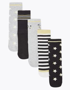 Çocuk Siyah 5'li Desenli Çorap Seti