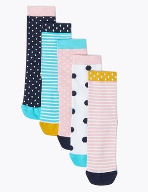 Çocuk Lacivert 5'li Desenli Çorap Seti