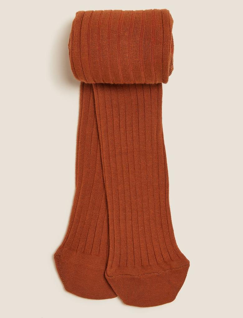 Çocuk Kahverengi Fitilli Külotlu Çorap