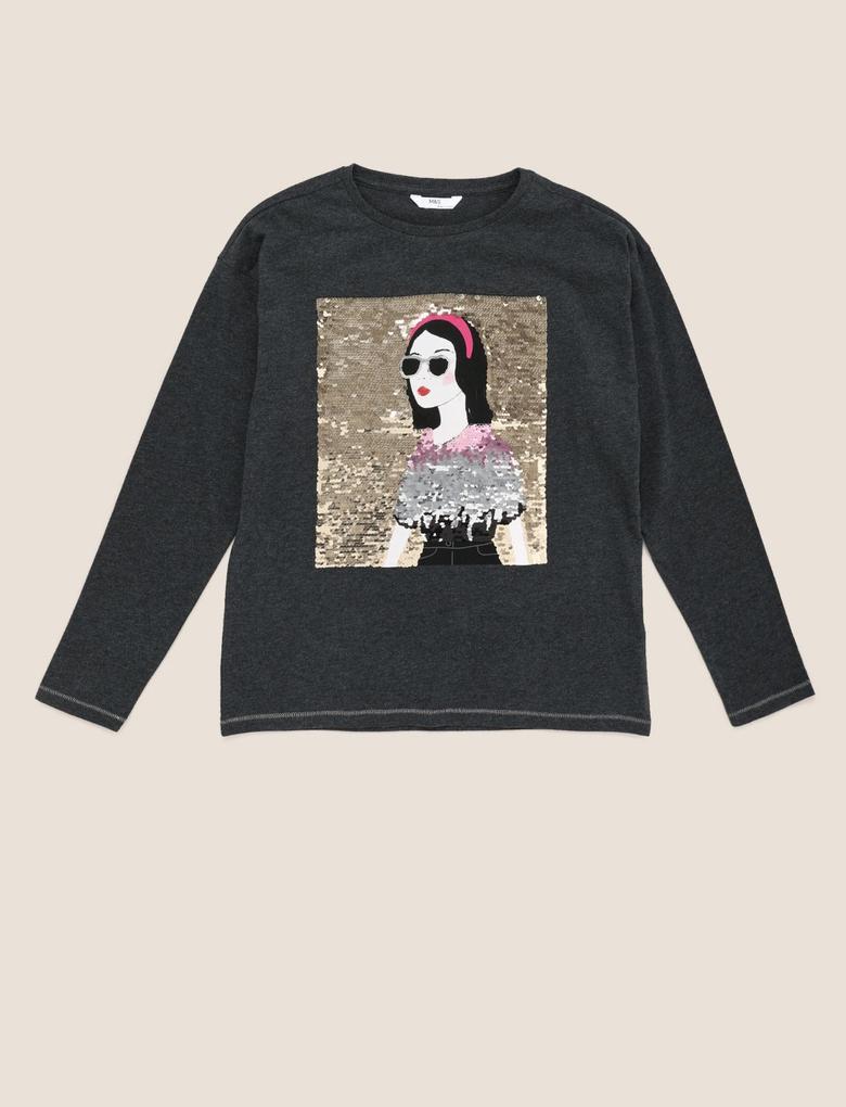 Kız Çocuk Gri Değişen Pullu Uzun Kollu T-shirt