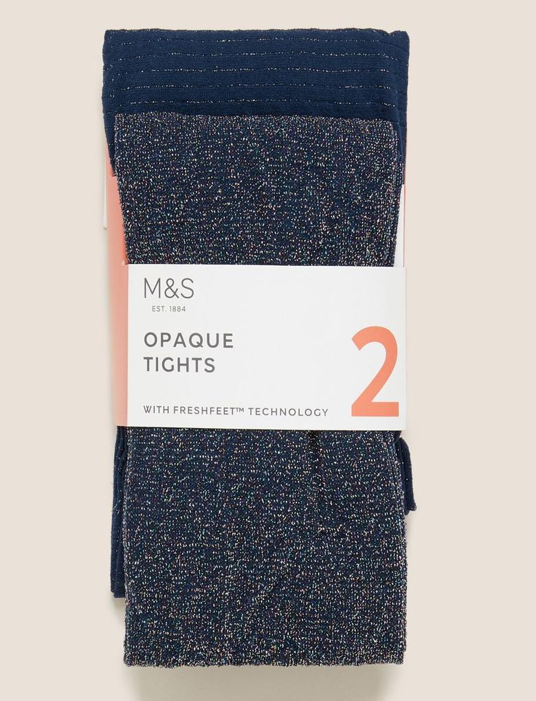 Çocuk Multi Renk 2'li Opak Külotlu Çorap Seti