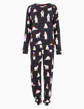 Kadın Gri Desenli Saf Pamuklu Pijama Takımı