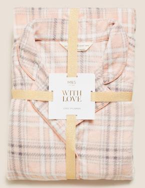 Kadın Pembe Polar Ekose Pijama Takımı