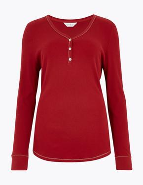 Kadın Kırmızı Saf Pamuklu Pijama Üstü
