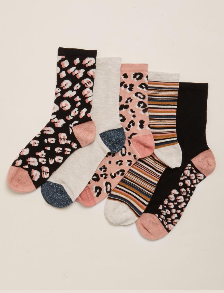 Kadın Siyah 5'li Desenli Çorap Seti