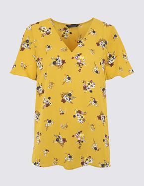 Kadın Sarı Çiçek Desenli Kısa Kollu T-Shirt