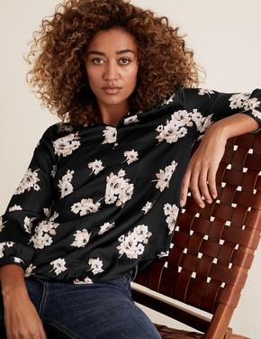 Kadın Siyah Saten Çiçek Desenli Bluz