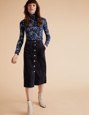 Kadın Lacivert Modal Karışımlı Dik Yakalı Bluz