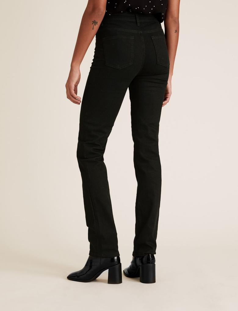 Kadın Siyah Straight Leg Jean Pantolon