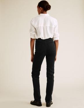 Kadın Siyah Kadife Straight Leg Pantolon