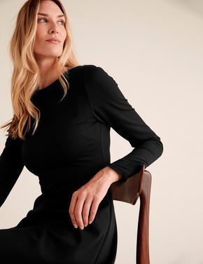 Kadın Siyah Uzun Kollu Jarse Elbise