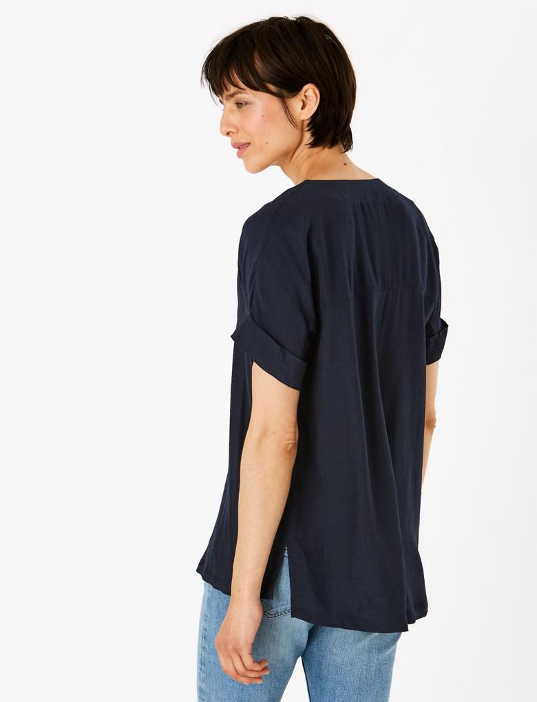 Kadın Lacivert V Yaka Popover Bluz