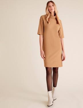 Kadın Kahverengi Yarım Kollu Mini Elbise