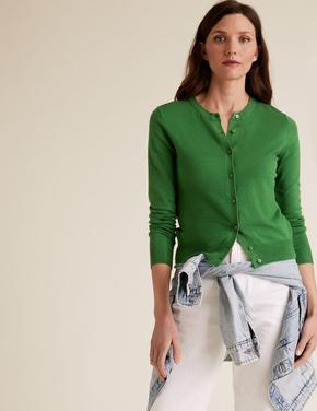 Kadın Yeşil Yuvarlak Yaka Hırka