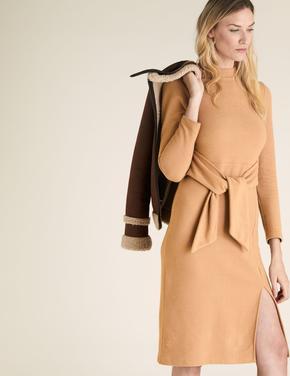 Kadın Kahverengi Kemer Detaylı Shift Elbise