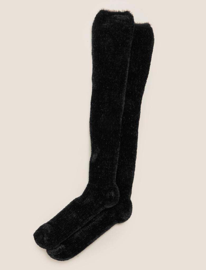 Kadın Siyah Kadife Diz Altı Çorabı