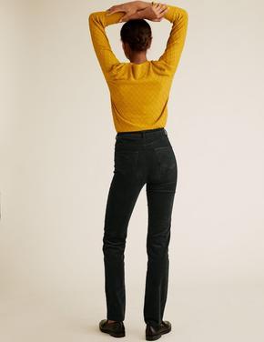 Kadın Yeşil Kadife Straight Leg Pantolon
