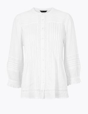 Kadın Beyaz Dantel Detaylı Uzun Kollu Bluz