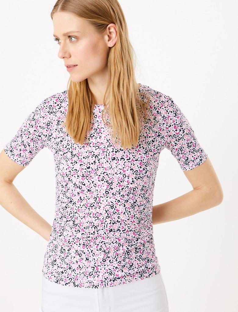 Kadın Mor Kısa Kollu Desenli Bluz