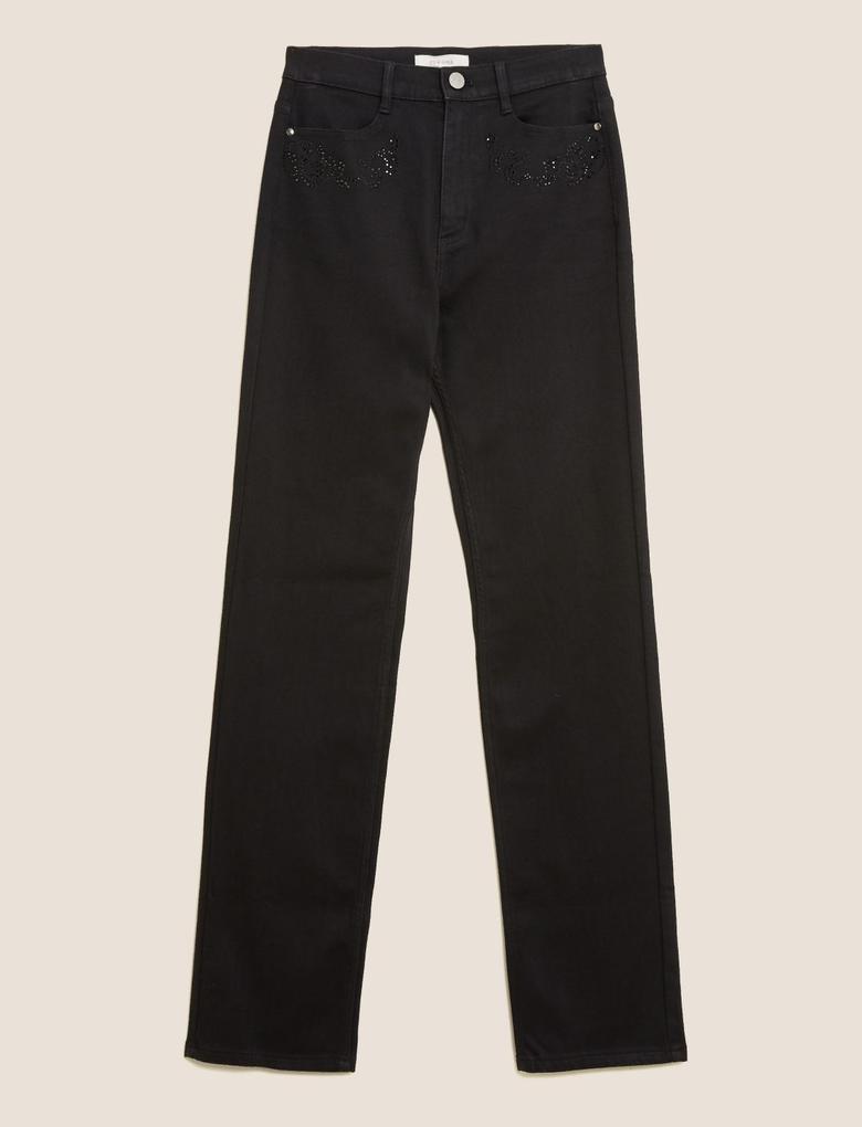 Kadın Siyah Yüksek Belli Straight Leg Jean Pantolon