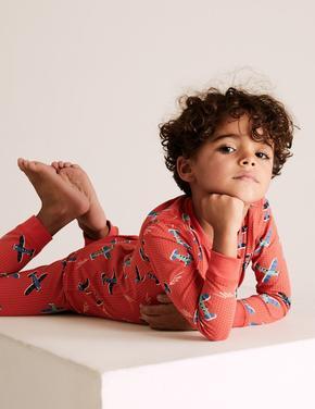 Çocuk Kırmızı Uçak Desenli Pijama Takımı