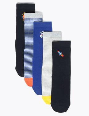 Çocuk Multi Renk 5'li İşlemeli Çorap Seti