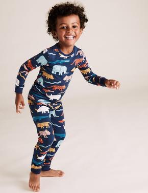 Çocuk Gri Desenli Pijama Takımı